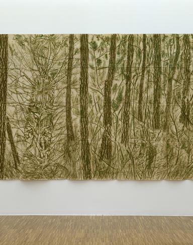 Verde del bosco, 1986 Frottage de feuilles et peinture végétale sur toile