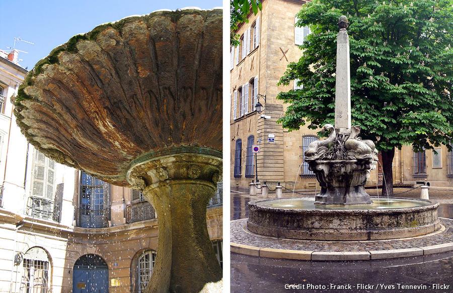 Fontaines d'Aix-en-Provence : Place d'Albertas et fontaine des 4 dauphins